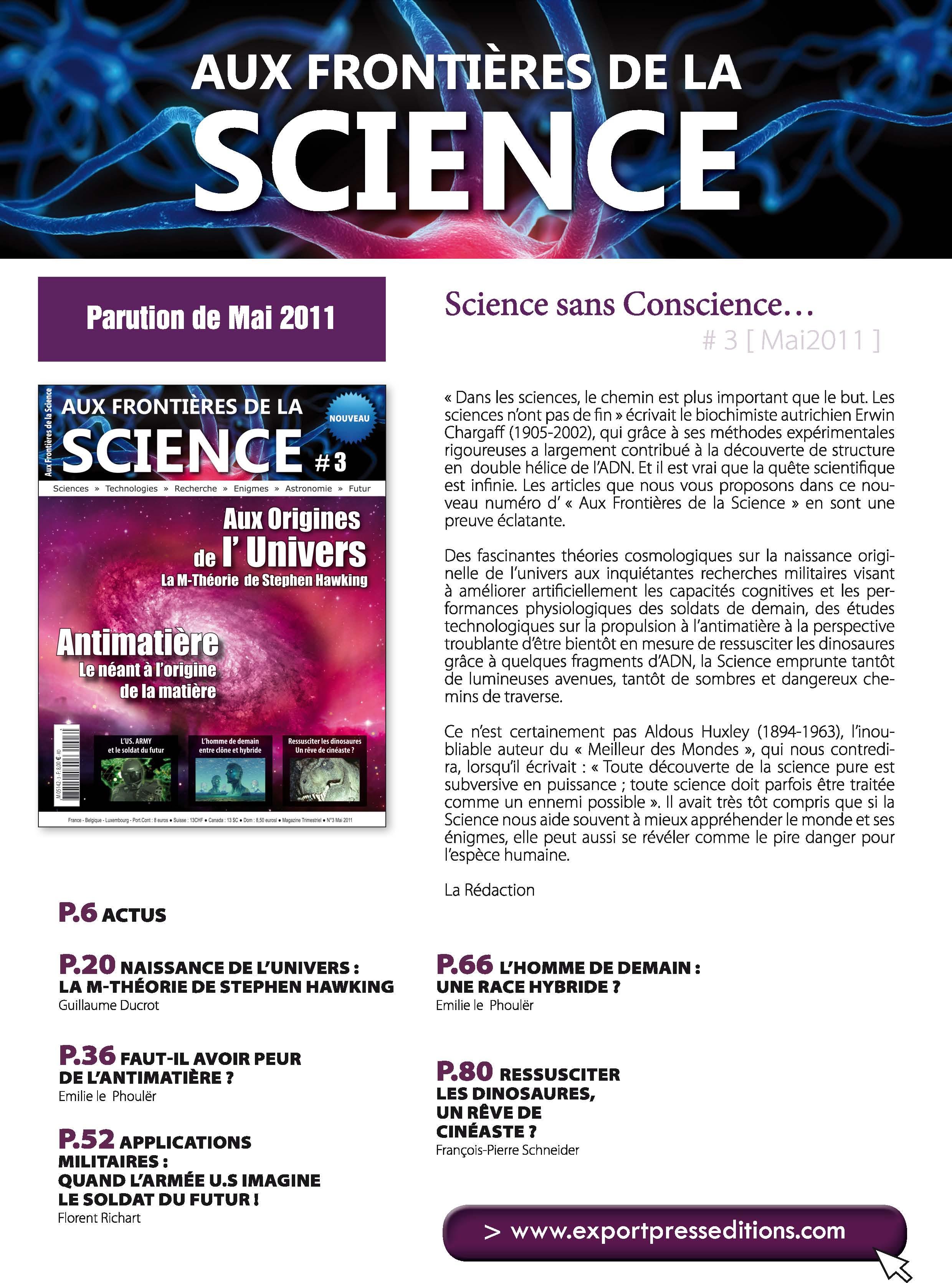 Aux Frontières de la Science 3